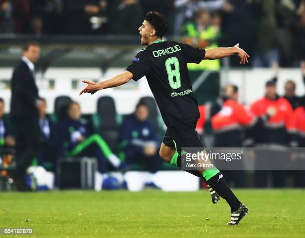 Mahmoud Dahoud of Borussia Moenchengladbach celebrates after scoring a goal during the UEFA Europa League Round of 16 second leg match between...