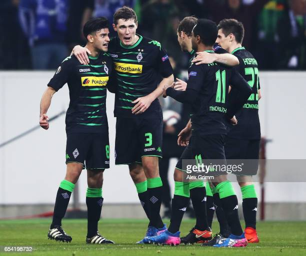 Mahmoud Dahoud of Borussia Moenchengladbach celebrates with Andreas Christensen after scoring a goal during the UEFA Europa League Round of 16 second...