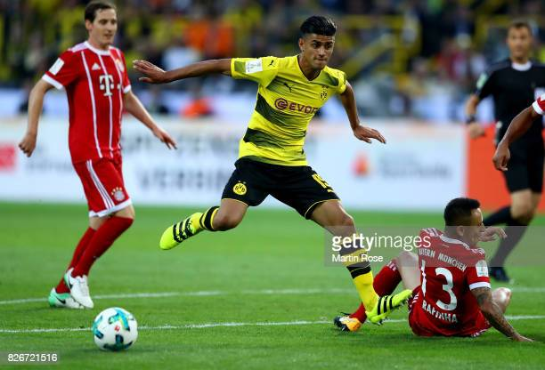 Mahmoud Dahoud of Dortmund and Rafinha of Muenchen battle for the ball during the DFL Supercup 2017 match between Borussia Dortmund and Bayern...