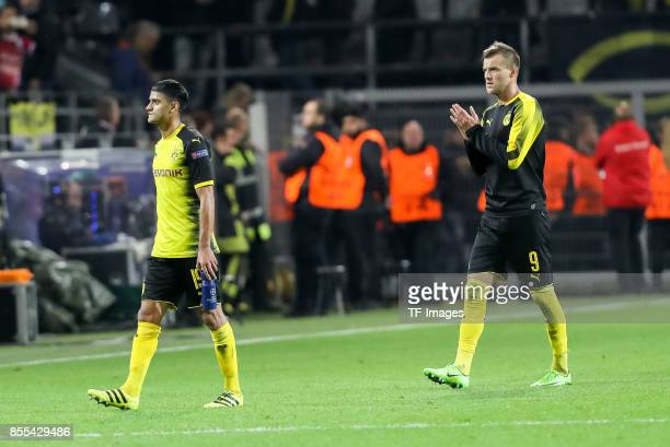 Mahmoud Dahoud of Dortmund Andrey Yarmolenko of Dortmund looks dejected after the UEFA Champions League group H match between Borussia Dortmund and...