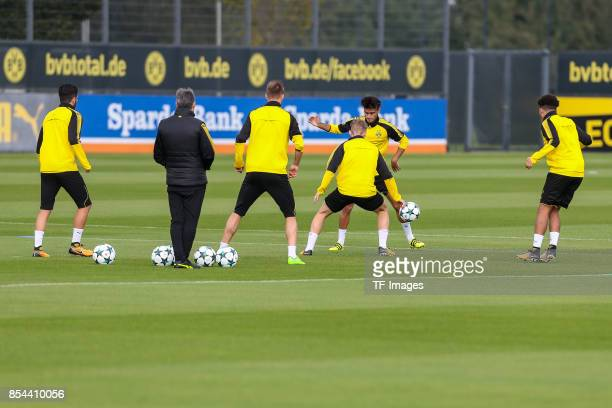 Mahmoud Dahoud of Dortmund Maximilian Philipp of Dortmund controls the ball during a Borussia Dortmund training session ahead of their UEFA Champions...