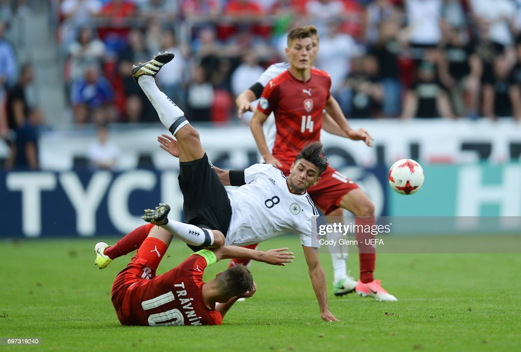 Mahmoud Dahoud of Germany and Michal Travnik of Czech Republic during their UEFA European Under-21 Championship match on June 18, 2017 in Tychy, Poland.