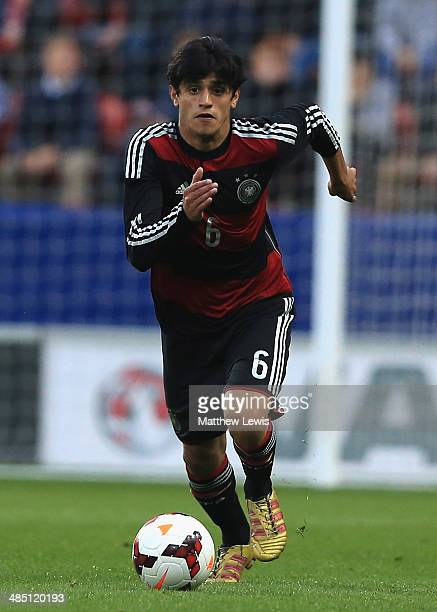 Mahmoud Dahoud of Germany in action during the Under 18 International Friendly match between England U18 and Germany U18 at The New York Stadium on...