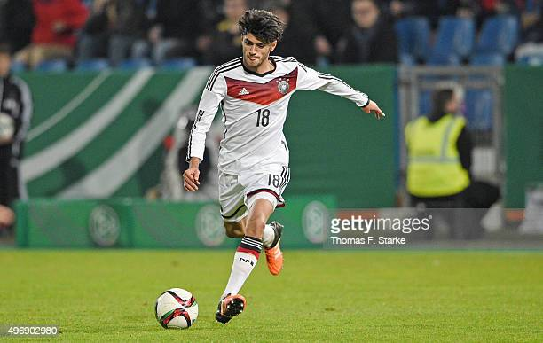 Mahmoud Dahoud of Germany kicks the ball during the U20 FourNationsTournament match between Germany and Italy at Osnatel Arena on November 12 2015 in...