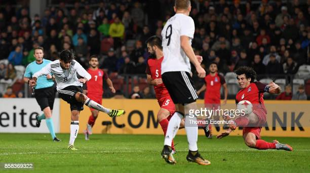 Mahmoud Dahoud of Germany scores his team's second goal during the UEFA Under21 Euro 2019 Qualifier match between U21 of Germany and U21 of...