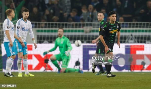 Mahmoud Dahoud of Moenchengladbach celebrates scoring a goal during the UEFA Europa League round of 16 soccer match between Borussia Moenchengladbach...