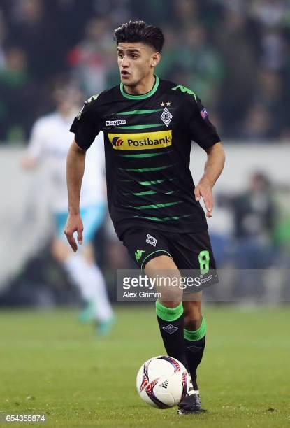 Mahmoud Dahoud of Moenchengladbach controles the ball during the UEFA Europa League Round of 16 second leg match between Borussia Moenchengladbach...