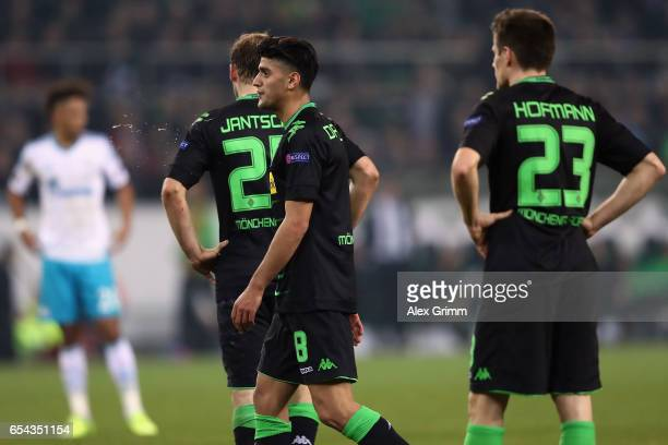 Mahmoud Dahoud of Moenchengladbach reacts after a penalty decision for Schalke during the UEFA Europa League Round of 16 second leg match between...