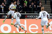 Mahmoud Dahoud of Moenchengladbach reacts after scoring the opening goal during the Bundesliga match between Borussia Moenchengladbach and 1 FC Koeln...