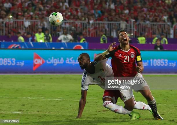 Mahmoud Ibrahim of Egypt in action against Beranger Itoua during the 2018 World Cup Africa Group E Qualifying match between Egypt and Congo at the...
