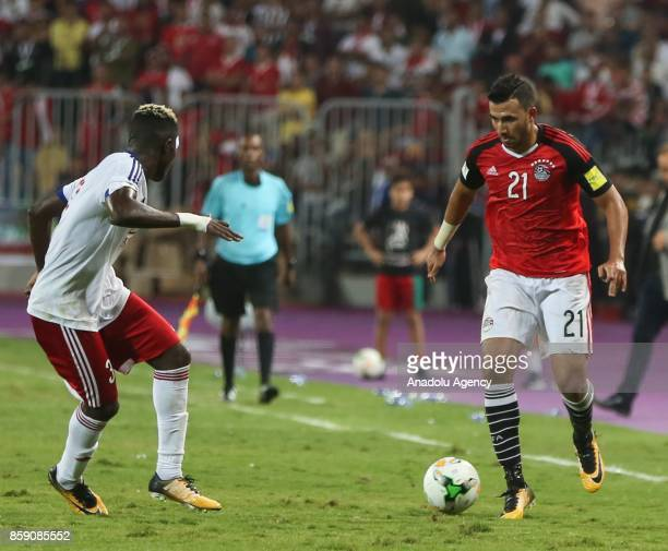 Mahmoud Ibrahim of Egypt in action against Romaric EtouTommaso during the 2018 World Cup Africa Group E Qualifying match between Egypt and Congo at...