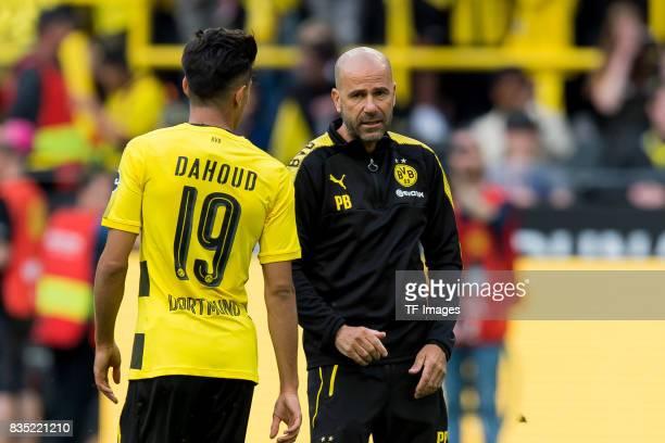 Mahmound Dahoud of Dortmund and Head coach Peter Bosz of Dortmund looks on during the Borussia Dortmund Season Opening 2017/18 at Signal Iduna Park...