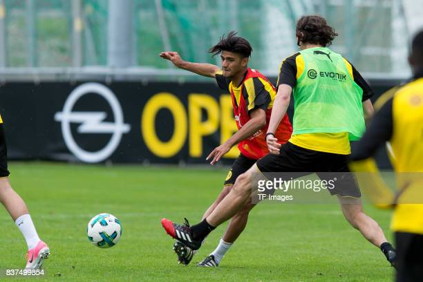 Mahmound Dahoud of Dortmund and Neven Subotic of Dortmund battle for the ball during a training session as part of the training camp on July 31 2017...