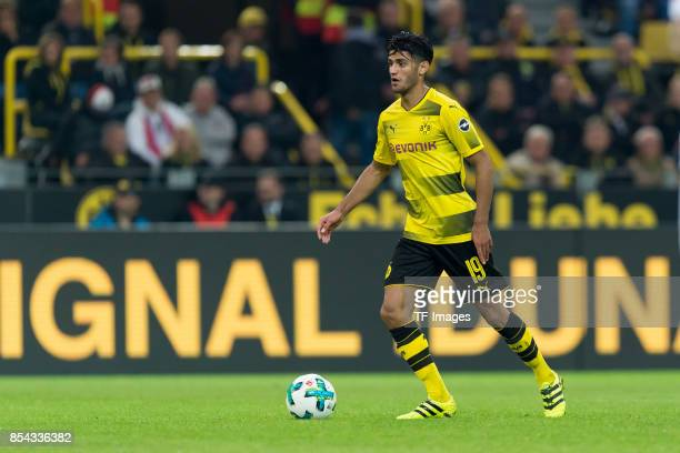 Mahmound Dahoud of Dortmund controls the ball during the Bundesliga match between Borussia Dortmund and 1 FC Koeln at the Signal Iduna Park on...