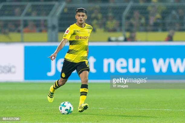 Mahmound Dahoud of Dortmund controls the ball during the Bundesliga match between Borussia Dortmund and Borussia Moenchengladbach at Signal Iduna...