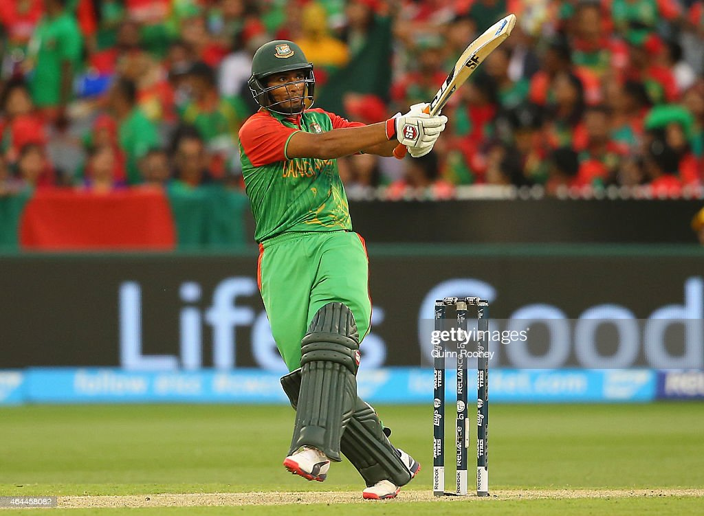 Mahmudullah of Bangladesh bats during the 2015 ICC Cricket World Cup match between Sri Lanka and Bangladesh at Melbourne Cricket Ground on February 26, 2015 in Melbourne, Australia.