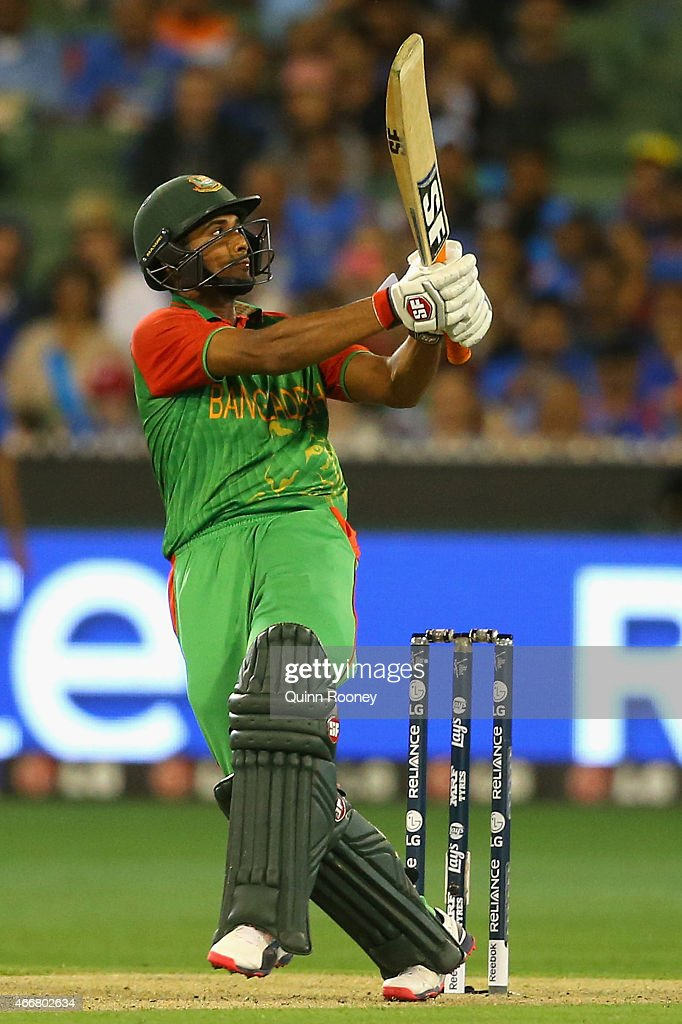 Mahmudullah of Bangladesh bats during the 2015 ICC Cricket World Cup match between India and Bangldesh at Melbourne Cricket Ground on March 19, 2015 in Melbourne, Australia.