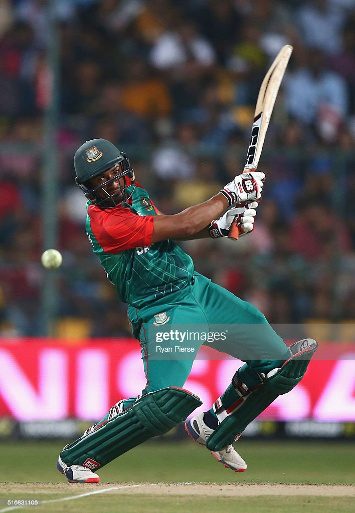 Mahmudullah of Bangladesh bats during the ICC World Twenty20 India 2016 Super 10s Group 2 match between Australia and Bangladesh at M. Chinnaswamy Stadium on March 21, 2016 in Bangalore, India.
