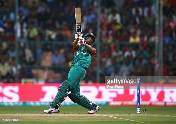 Mahmudullah of Bangladesh bats during the ICC World Twenty20 India 2016 Super 10s Group 2 match between Australia and Bangladesh at M Chinnaswamy...