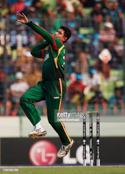 Mahmudullah of Bangladesh bowls during the opening game of the ICC Cricket World Cup between Bangladesh and India at the ShereeBangla National...