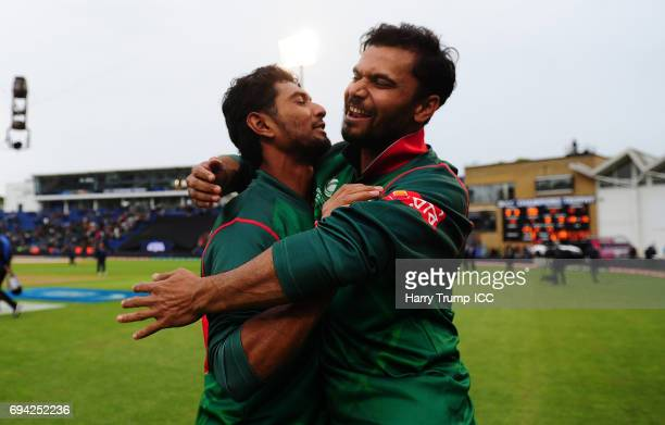 Mahmudullah of Bangladesh celebrates at the end with Mashrafe Mortaza of Bangladesh during the ICC Champions Trophy match between New Zealand and...