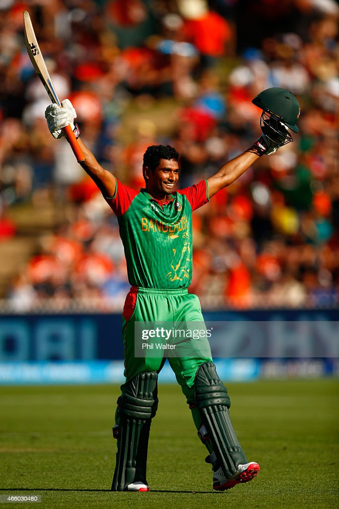 Mahmudullah of Bangladesh celebrates his century during the 2015 ICC Cricket World Cup match between Bangladesh and New Zealand at Seddon Park on March 13, 2015 in Hamilton, New Zealand.