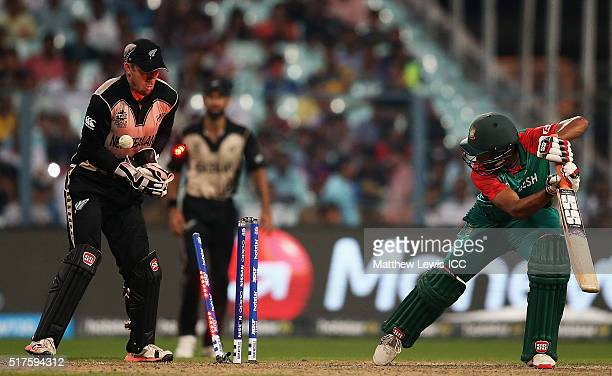 Mahmudullah of Bangladesh is bowled by Ish Sodhi of New Zealand during the ICC World Twenty20 India 2016 match between Bangladesh and New Zealand at...