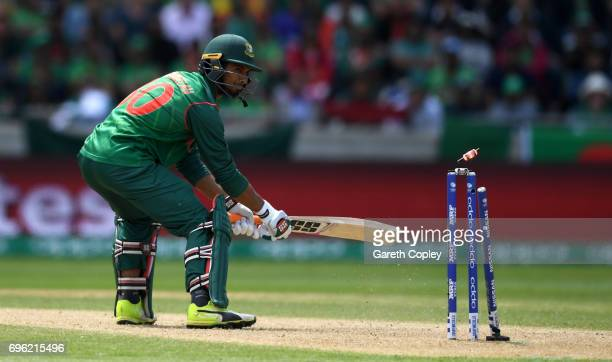 Mahmudullah of Bangladesh is bowled by Jasprit Bumrah of India during the ICC Champions Trophy Semi Final between Bangladesh and India at Edgbaston...