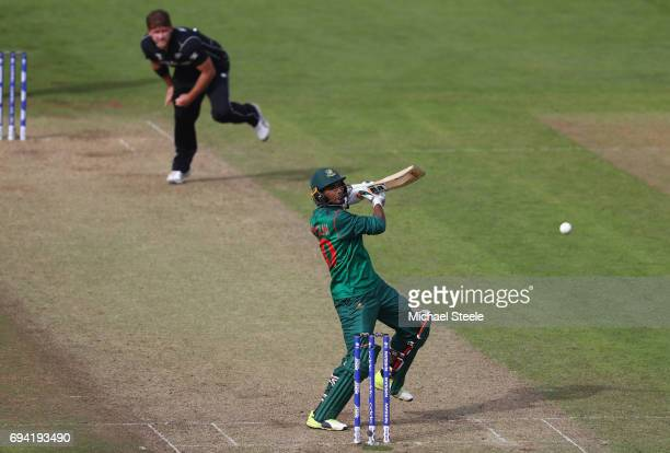 Mahmudullah of Bangladesh misses a delivery from Corey Anderson of New Zealand during the ICC Champions Trophy match between New Zealand and...