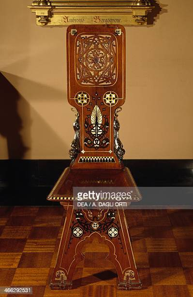 Mahogany chair with mother of pearl inlays and ebony and bronze threads one of a set of four ca 1860 drawing by Luigi Scrosati for Gian Giacomo Poldi...