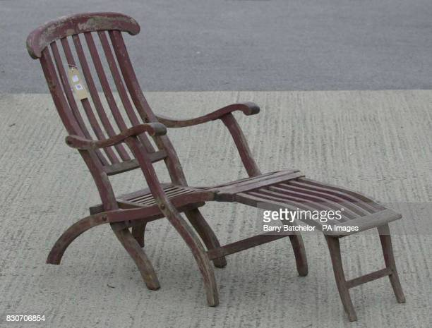A mahogany deck chair with a tiny White Star Line emblem carved into the headrest that survived the sinking of the Titanic and that memorabilia...