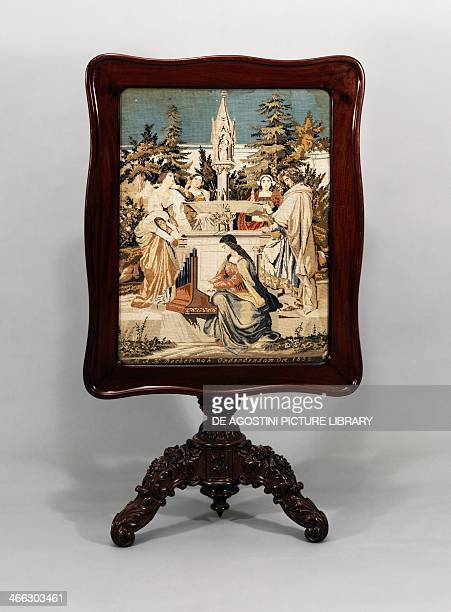 Mahogany table with folding top inset with embroidered allegorical scene ca 1852 Netherlands 19th century