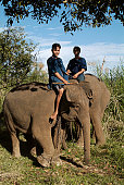 Mahouts and their elephants at the Anantara Golden Triangle Resort Together with the nearby Four Seasons Tented Camp the resort raises money through...