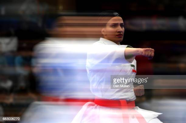 Mahsa Afsaneh of Iran competes in the Womens Karate Kata during day three of Baku 2017 4th Islamic Solidarity Games at the Baku Sports Hall on May 14...