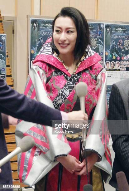Mai Asada elder sister of retiring figure skater Mao Asada meets with reporters in Yokohama near Tokyo on April 11 a day after Mao Asada announced...