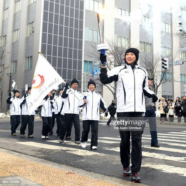 Mai Asada runs during the Winter Asian Games Sapporo torch relay on February 6 2017 in Sapporo Hokkaido Japan