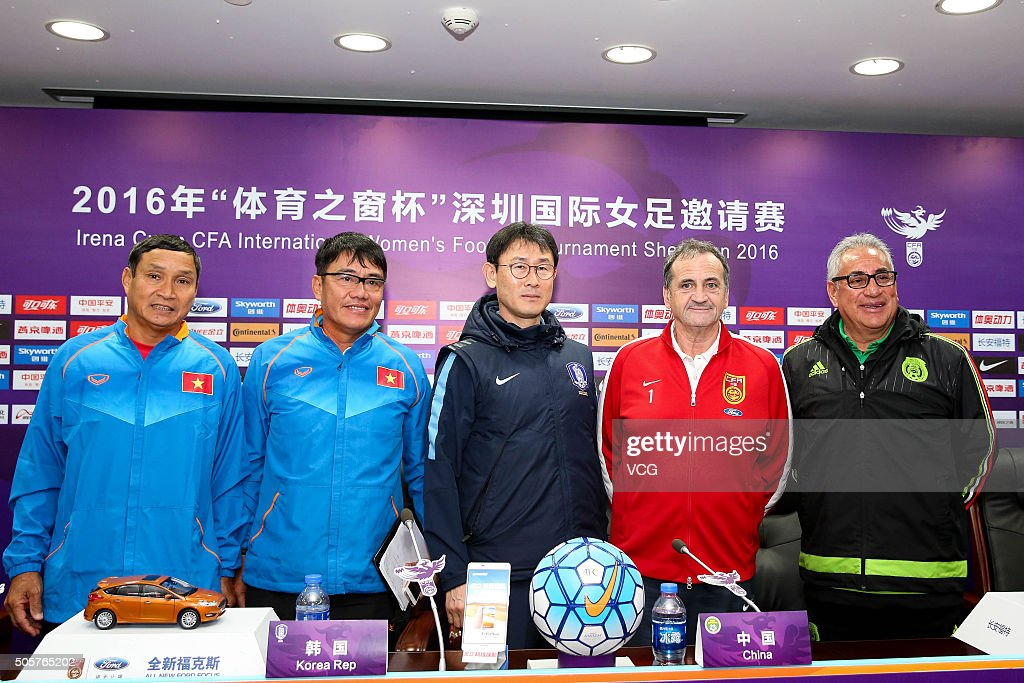 Mai Duc Chung, head coach of Vietnamese women's national football team, Yoon Deok-yeo, head coach of South Korean national women's football team, <a gi-track='captionPersonalityLinkClicked' href=/galleries/search?phrase=Bruno+Bini&family=editorial&specificpeople=2391630 ng-click='$event.stopPropagation()'>Bruno Bini</a>, head coach of Chinese women's national football team, <a gi-track='captionPersonalityLinkClicked' href=/galleries/search?phrase=Leonardo+Cuellar&family=editorial&specificpeople=6542587 ng-click='$event.stopPropagation()'>Leonardo Cuellar</a>, head coach of Mexico women's national football team, attend the press conference of Irena Cup - CFA International Women's Football Tournament Shenzhen 2016 on January 20, 2016 in Shenzhen, Guangdong Province of China.