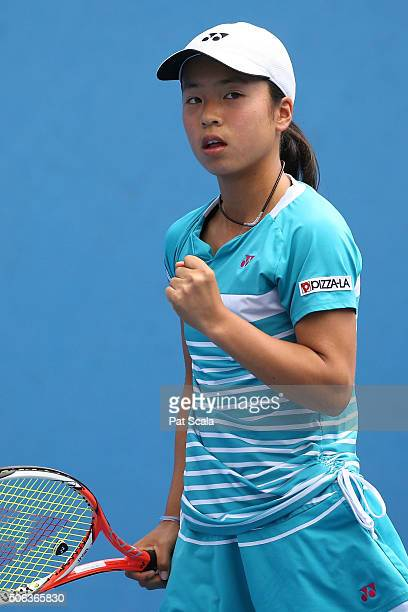 Mai Hontama of Japan celebrates a point Belgium during the Australian Open 2016 Junior Championships at Melbourne Park on January 23 2016 in...
