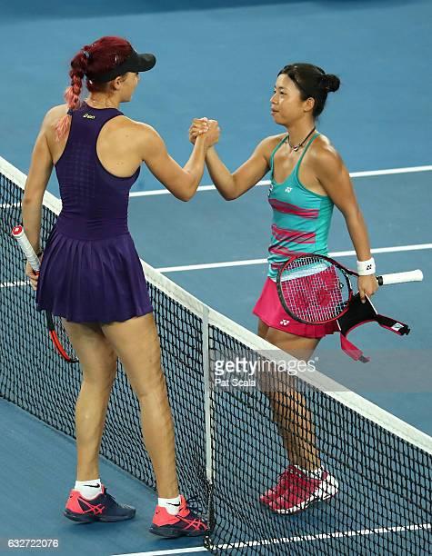 Mai Hontama of Japan congratulates Rebeka Masarova of Switzerland after their Junior Girls Singles Quarterfinal match during the Australian Open 2017...