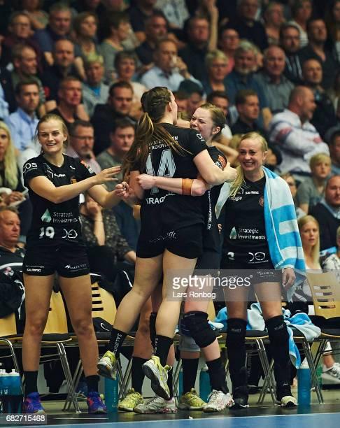 Mai Kragballe and Anne Mette Hansen of Copenhagen Handball celebrate during the Danish women's handball Primo Tours Ligaen 1st leg Final match...