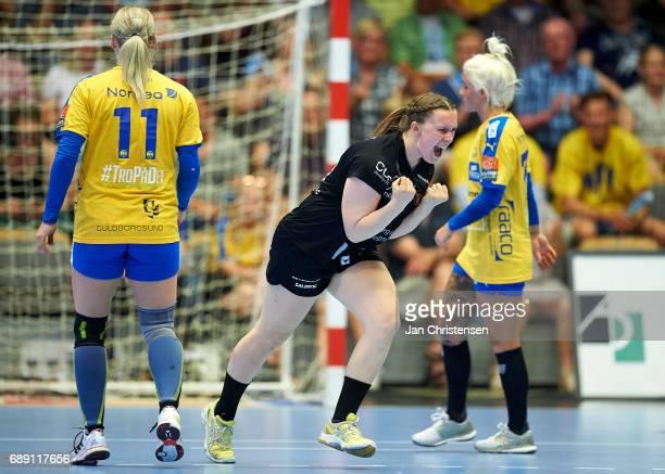 Mai Kragballe of Copenhagen Handball celebrate after goal during the Primo Tours Ligaen 3 Final match between Nykobing Falster Handbold and...