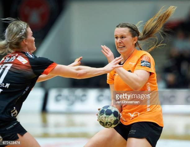 Mai Kragballe of Copenhagen Handball challenge for the ball during the Primo Tours Ligaen 1 Semifinal match between FC Midtjylland and Copenhagen...