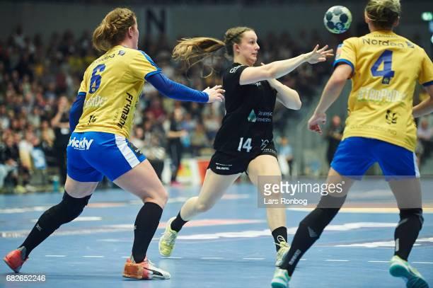 Mai Kragballe of Copenhagen Handball in action during the Danish women's handball Primo Tours Ligaen 1st leg Final match between Nykobing Falster...