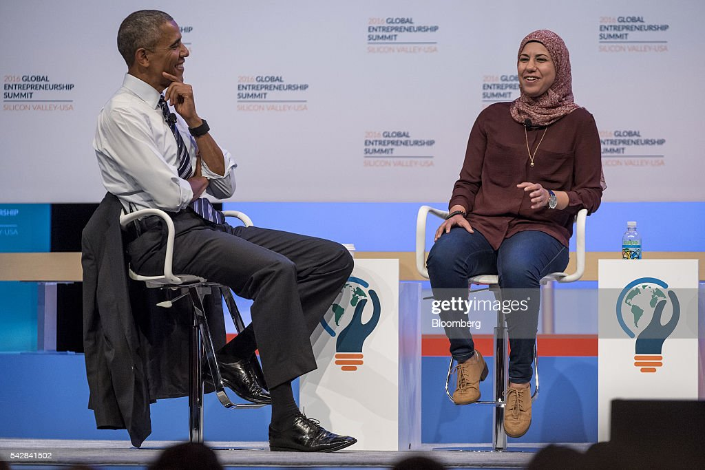 Mai Medhat, chief executive officer and founder of Eventtus, left, speaks as U.S. President <a gi-track='captionPersonalityLinkClicked' href=/galleries/search?phrase=Barack+Obama&family=editorial&specificpeople=203260 ng-click='$event.stopPropagation()'>Barack Obama</a> listens during the 2016 Global Entrepreneurship Summit (GES) at Stanford University in Stanford, California, U.S., on Friday, June 24, 2016. The annual event brings together entrepreneurs from around the world for 3 days of networking, workshops and conferences. Photographer: David Paul Morris/Bloomberg via Getty Images