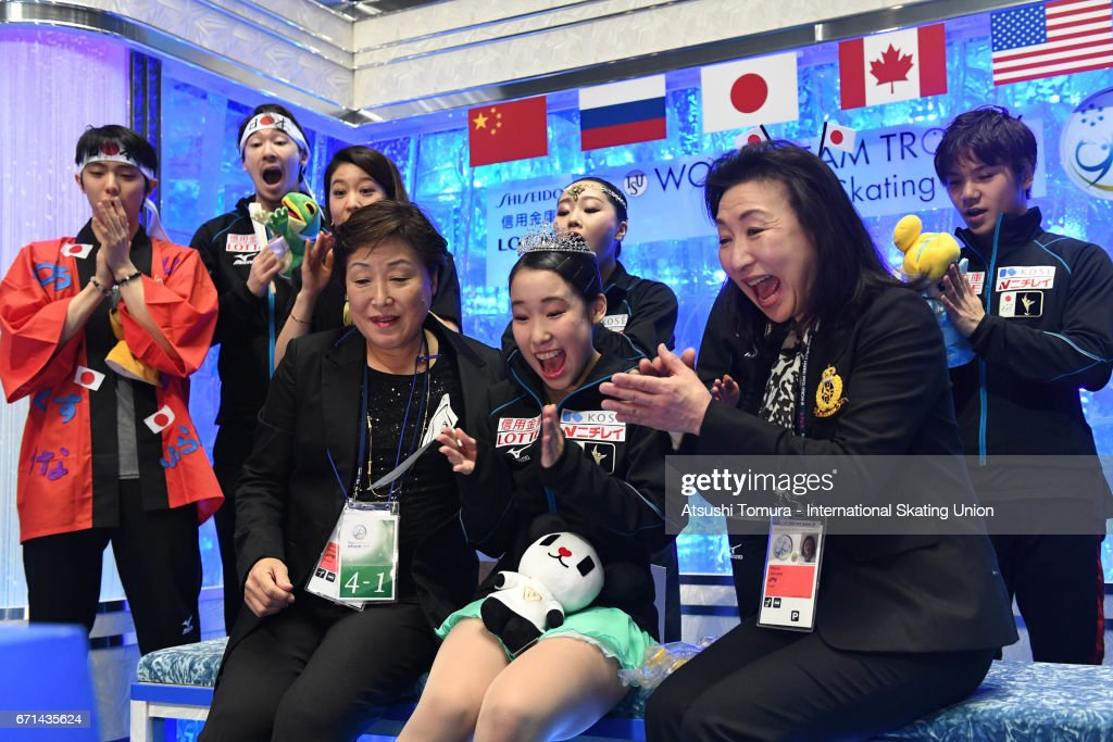 Mai Mihara of Japan celebrates with her team mates at kiss and cry after the Ladies free skating during the 3rd day of the ISU World Team Trophy 2017on April 22, 2017 in Tokyo, Japan.