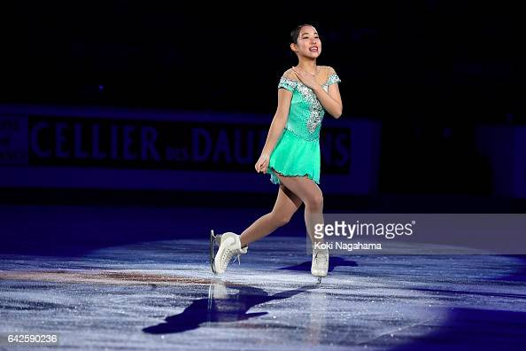 Mai Mihara of Japan greets fans prior to the medals ceremony of the Ladies skating during ISU Four Continents Figure Skating Championships Gangneung...