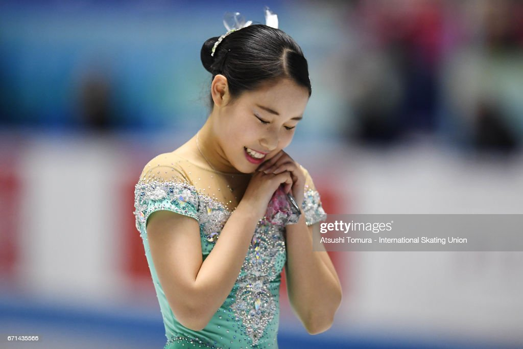 Mai Mihara of Japan reacts after the Ladies free skating during the 3rd day of the ISU World Team Trophy 2017on April 22, 2017 in Tokyo, Japan.