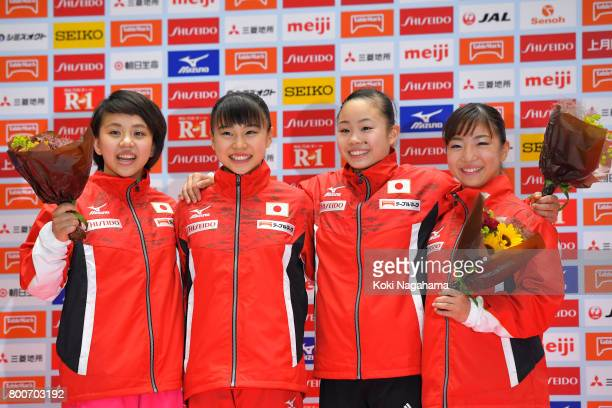 Mai Murakami Aiko Sugihara Sae Miyakawa and Asuka Teramoto pose for photographs as they selected as members of Japan national team after Japan...