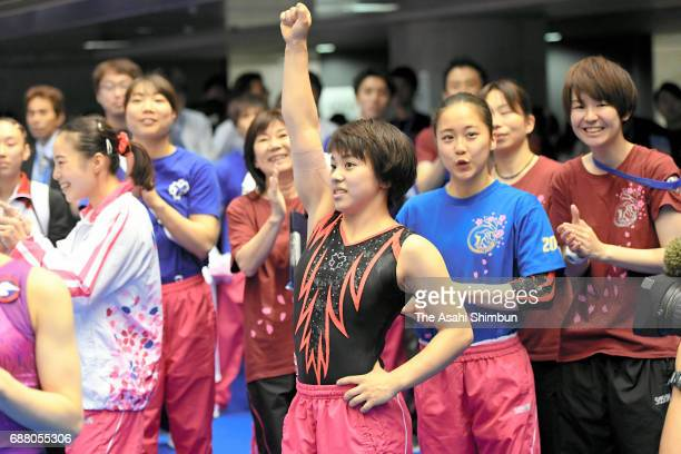 Mai Murakami celebrates after winning the Women's AllAround during day two of the Artistic Gymnastics NHK Trophy at the Tokyo Metropolitan Gymnasium...