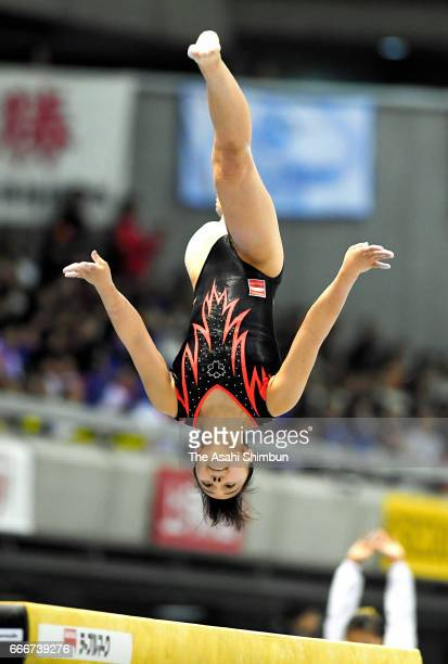 Mai Murakami competes in the Women's balance beam during day three of the All Japan Artistic Gymnastics Championships at Tokyo Metropolitan Gymnasium...